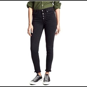 "Madewell Black 10"" High-Rise Raw Hem Skinny Jeans"